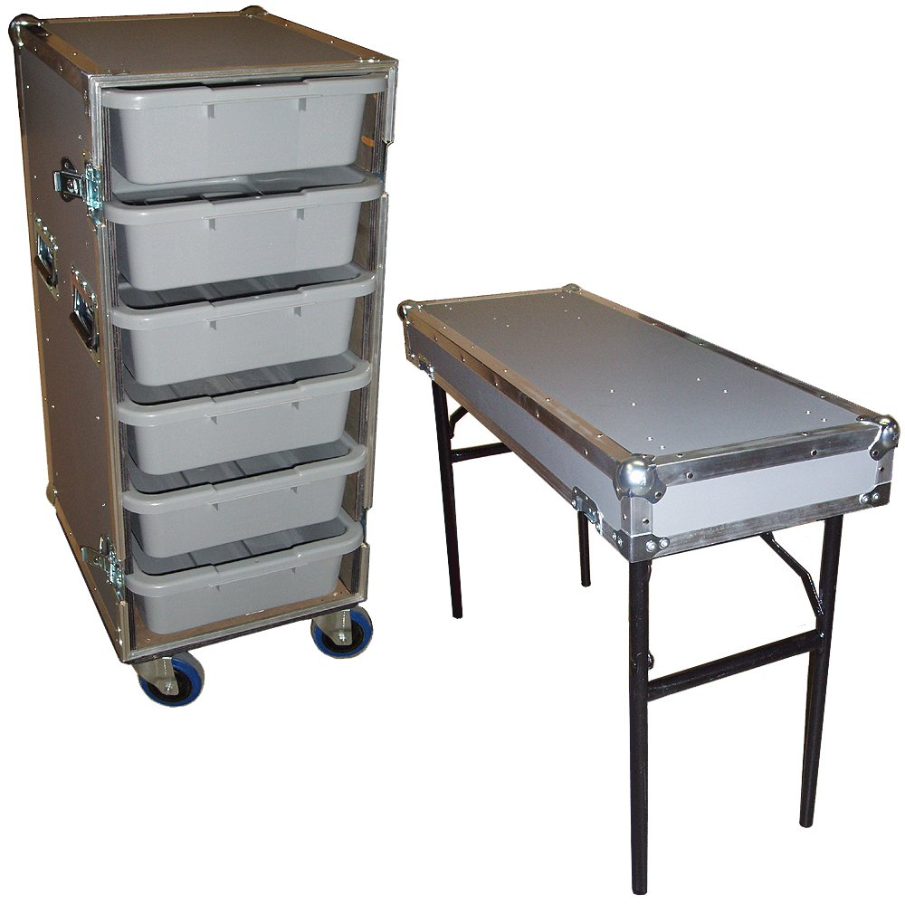Drawer Workbox - 6 Small Tub - Drawer Heavy Duty 3/8 Ply ATA Case with Lid Table & Wheels by Roadie Products, Inc. (Image #1)
