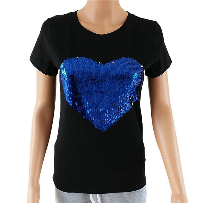 WanYang Blusas y Camisas Las Mujeres del Azul Corazón De Las Lentejuelas De Manga Corta Blusa