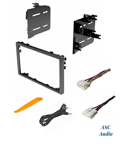 asc audio car stereo dash install kit and wire harness for installing an  aftermarket double din