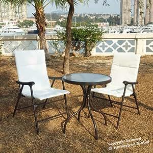 HomeStore Global OF00016 - Juego de mesa y 2 sillas para jardín
