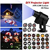 ACTOPP Christmas Light Projector 30pcs Gobos HB DIY LED Projector Lights Indoor Outdoor Landscape Projection with 360° Rotating Unti-fading Films IP65 Waterproof for Holiday Christmas Wedding Decor