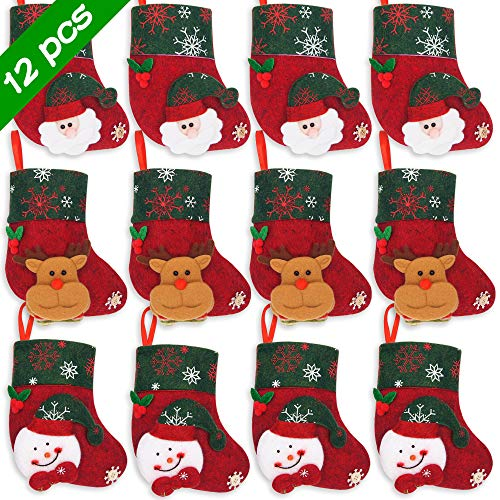 Ivenf Christmas Mini Stockings, 12 Pcs 6.25 inches Felt with 3D Santa Snowman, Gift Card Silverware Holders, Bulk Treats for Neighbors Coworkers Kids Cats Dogs, Small Rustic Red Xmas Tree Set (Cards Ideas Xmas)