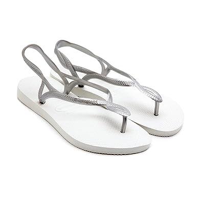 7d647d262 Havaianas Luna White Silver Strap Women Flip Flops Thongs Brazil Rubber  Sandals Beach  Amazon.co.uk  Shoes   Bags