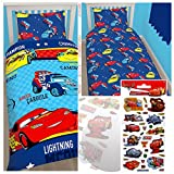 Disney Cars Piston Single/US Twin Rotary Duvet Cover + Disney Cars Small Foil Stickers