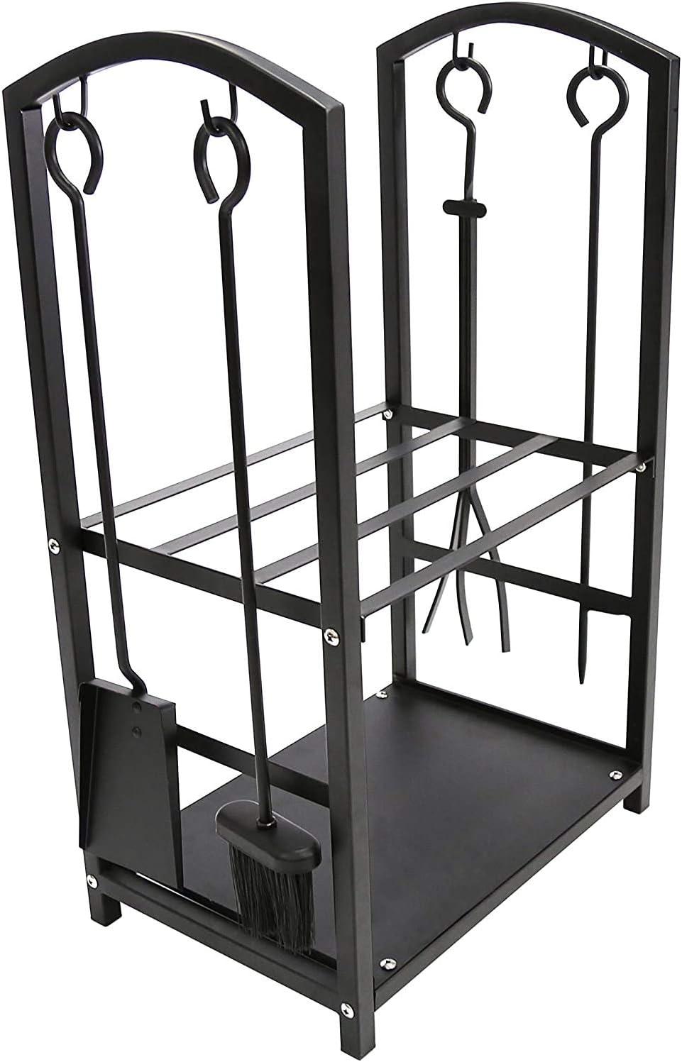 con accessori per camino 2 ripiani con 4 strumenti DWD/® 4 utensili per interni ed esterni porta tronchi con borsa in tela Portarlegna vintage con 2 ripiani in metallo nero