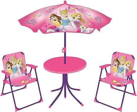 Fun House 712348 Disney Princesses salón de jardín para niños con 1 Mesa, 2 sillas y 1 sombrilla: Amazon.es: Deportes y aire libre