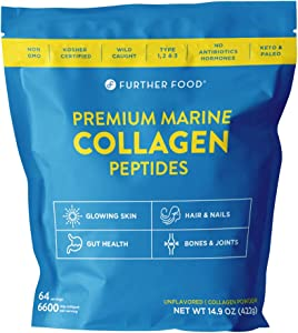 Premium Marine Collagen Peptides Powder Supplement - Wild-Caught, Keto, Type 1, 2 and 3 Hydrolyzed Collagen Powder - for Hair, Skin, Gut, Nails, Bones & Joints - Large Bag - 64 Servings