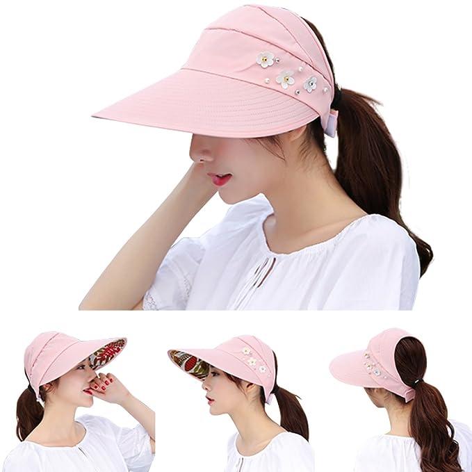 f7f3f59a6dacb4 JOYEBUY Women Wide Brim UV Protection Summer Beach Visor Cap Sun Hat  (Khaki) at Amazon Women's Clothing store: