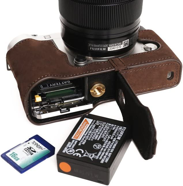Fujifilm X-A3 Case Orange BolinUS Handmade Genuine Leather Colorful Half Camera Bag Case for Fujifilm Fuji X-A3 XA3 Bottom Opending Version