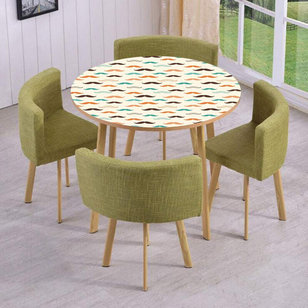 Round Table/Wall/Floor Decal Strikers/Removable/Retro Mustache Pattern in Stylized Curly Shapes Old Fashioned/for Living Room/Kitchens/Office Decoration