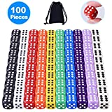 Austor 100 Pieces 6- Sided Dice Set, 10 x 10 Different Colors 16mm Acrylic Dice with Free Velvet Pouches for Tenzi, Farkle, Yahtzee, Bunco or Teaching Math