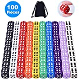 AUSTOR 100 Pieces 6 Sided Dice Set 10 Different Colors 16mm Acrylic Dice with Free a Velvet Pouch