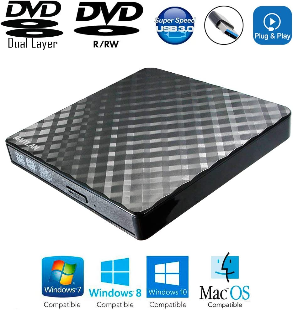 External DVD R/W CD Burner Player USB 3.0 Portable Optical Drive for Sony Vaio S Toshiba Satellite C55 C655 Portege Z30-C Tecra Fujitsu Lifebook T Series Laptop, Super Multi 24X CD-R Writer Black New