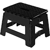 Topfun Folding Step Stool, 9 inch Non-Slip Footstool for Adults or Kids, Sturdy Safe Enough, Holds up to 300 Lb, Foldable Step Stools Storage/Open Easy, for Kitchen,Toilet,Office,RV (Black, 9inch)