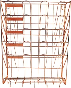 PROJECT 22 - Hanging Wall File Organizer, 5 Pocket with bonus tray and key organizer | Wall Mounted Document Holder for Office Home | Desk Organization (ROSE GOLD/COPPER)