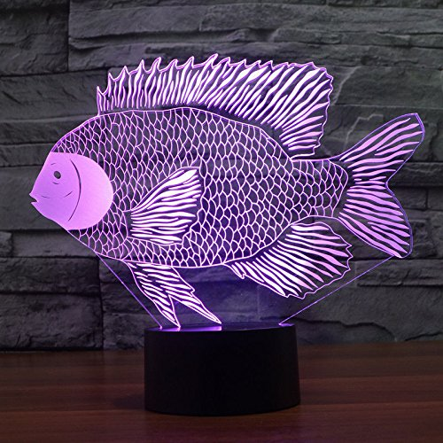 Comics+3D+Night+Lamp+ Products : Paper-Cut Fish Gift Acrylic 3D Night Light Table Desk Lamp Touch Switch Usb