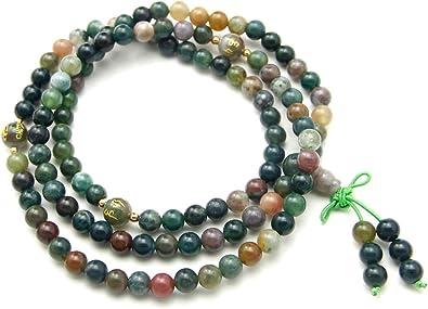 6 mm Naturel Noir Agate Tibet bouddhiste 108 prière perles Mala Collier//Bracelet