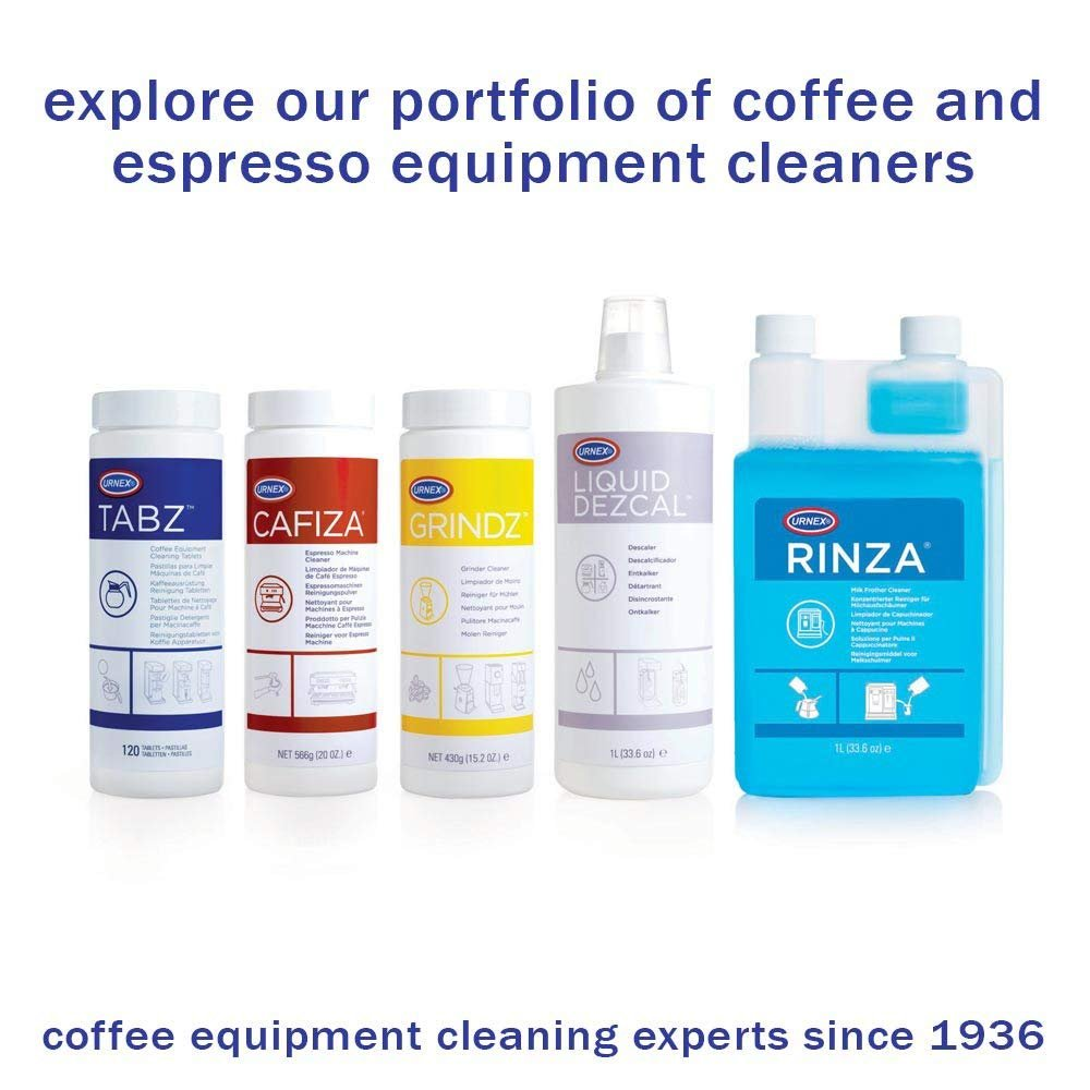 Urnex Espresso Machine Sample Cleaning Kit - Professional Scoops Brush Grindz Rinza Tabz and Cafiza Sample Pack For Espresso Machine Cleaning