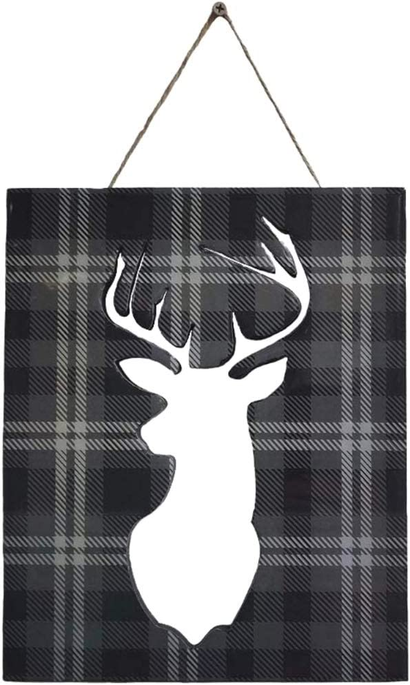 Wooden Deer Head Wall Decor - Stag Head Decor - Decorative Tartan Pattern - Home Decor Wall Art - for Home or Office Wall Hanging in The Living Room, Kitchen, Bathroom or Bedroom.