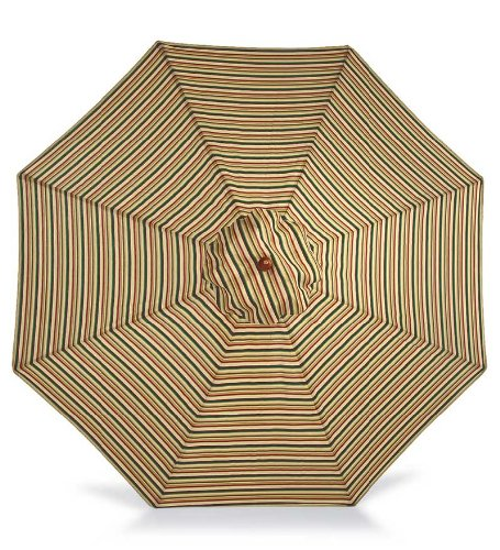 Cheap 7′ Aluminum Umbrella With Crank Arm, in Green Stripe