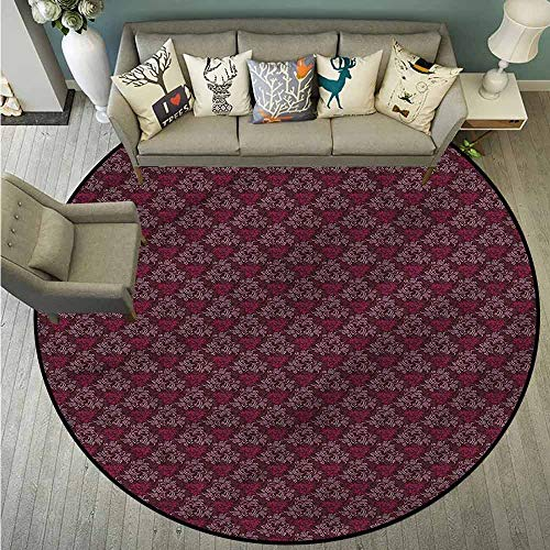 Living Room Round Rugs,Floral,Ornate Victorian Garden,Easy Clean Rugs,4'11
