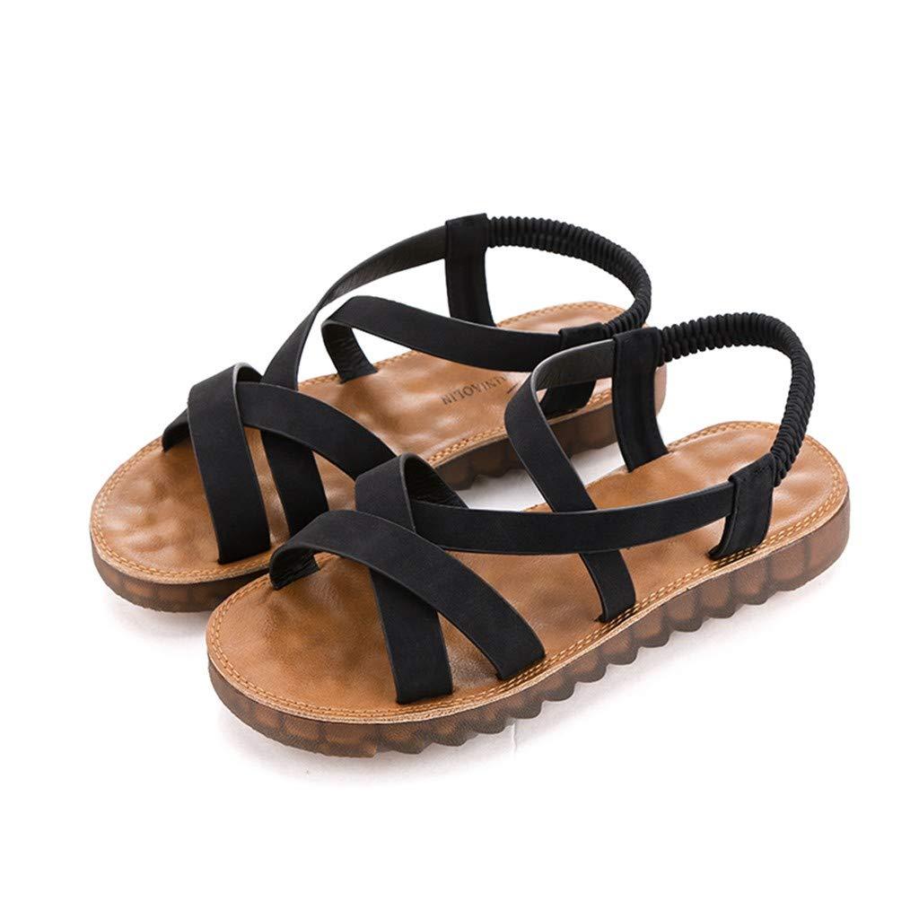 Roma Sandals Boho Flats 0.78 Low Heel Flats Pregnant Round Toe Elastic Band Summer Beach Shoes Womens Roman Flat Sandals