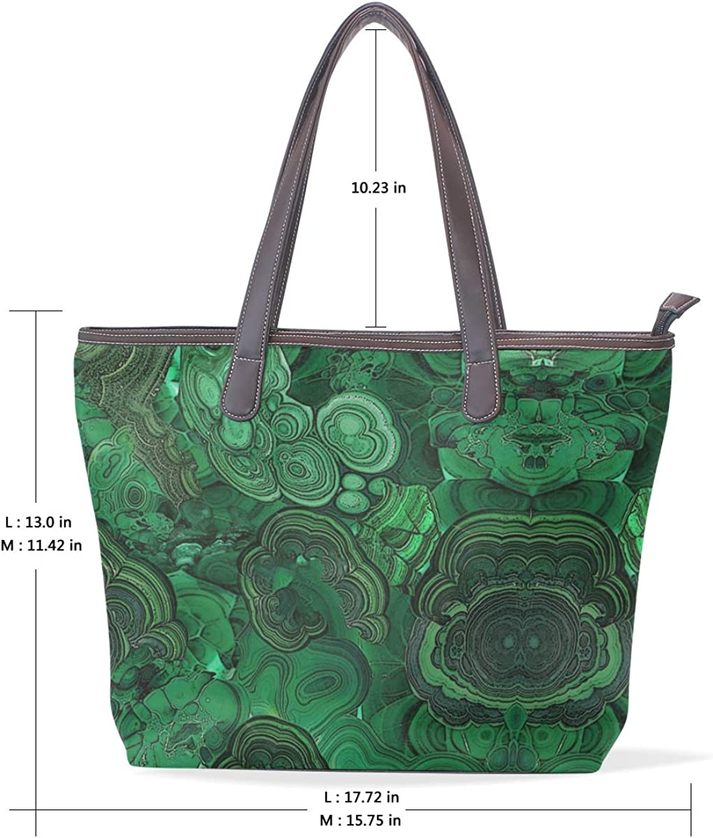 Green MarbleWomens Vintage Leather Tote Urban Style Satchel Tote