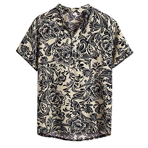 Men's Tops Hawaiian Shirt Ethnic Short Sleeve Comfy Cotton Linen Printing Holiday Casual Blouse