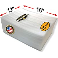 """70 Pack of Mighty Gadget (R) Large 16"""" x 12"""" Foam Wrap Sheets Cushioning for Moving Storage Packing and Shipping Supplies, 70-Pack (White)"""