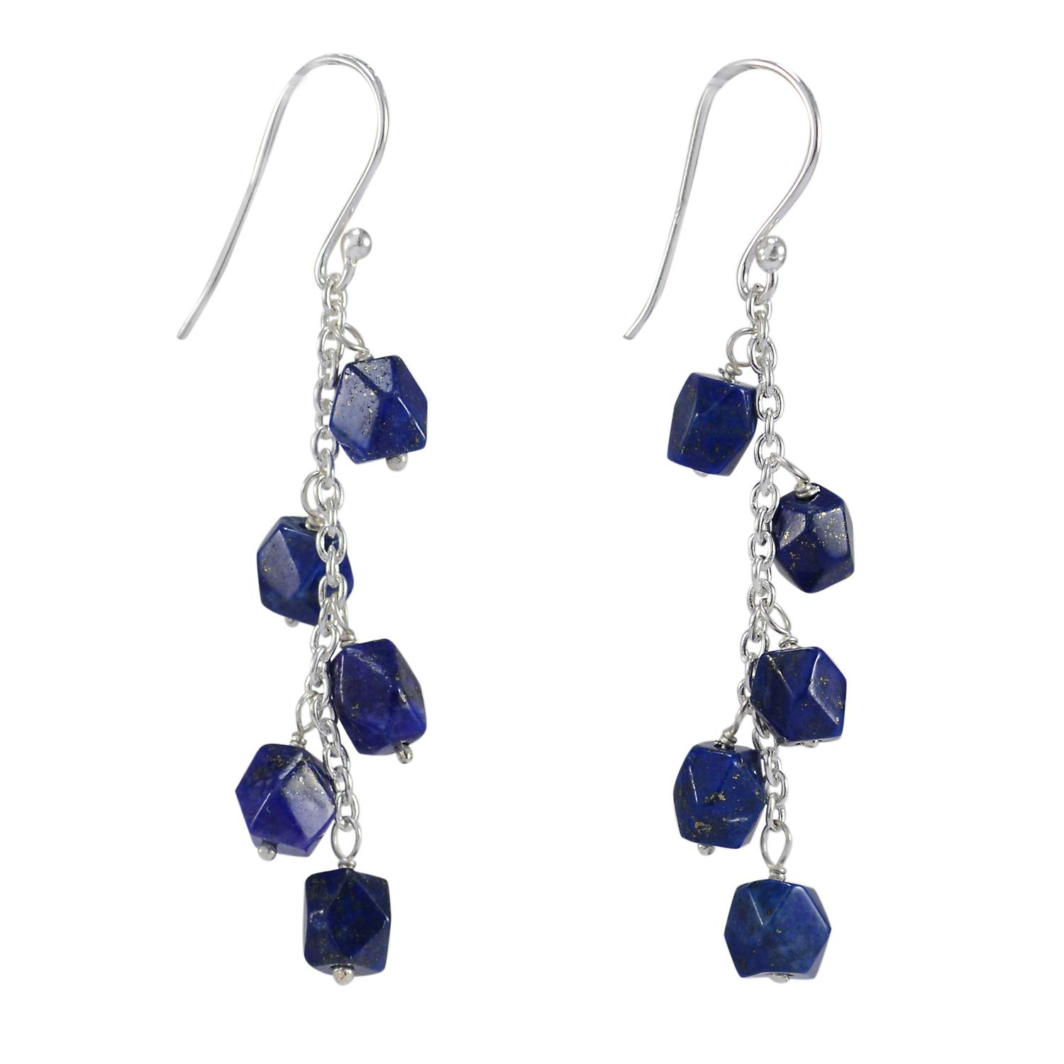 Faceted Cut Rolo Chain Dangle Earring Jaipur Rajasthan India Handmade Jewelry Manufacturer Square Lapis Lazuli 925 Sterling Silver