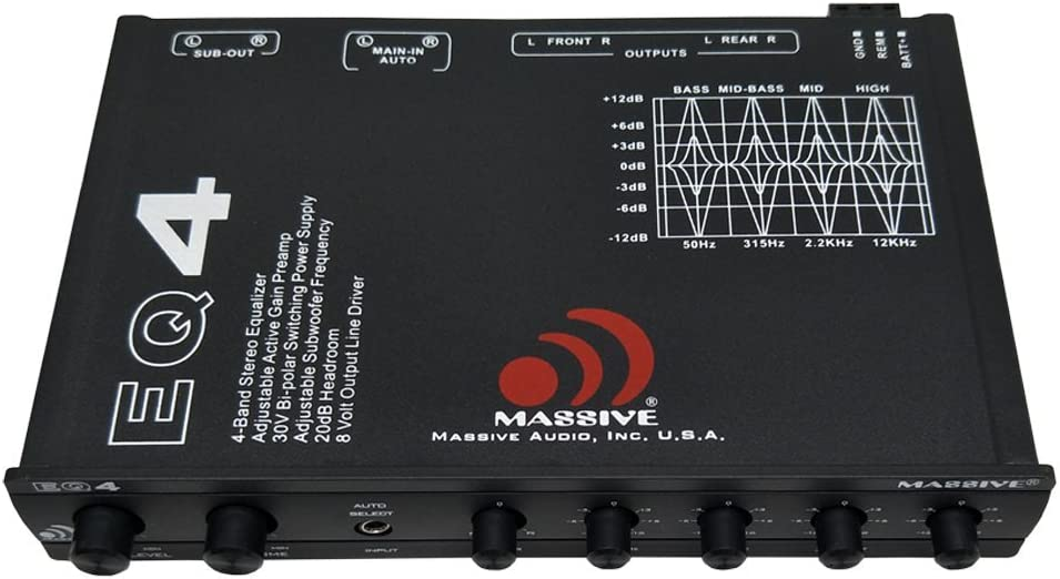 Amazon Com Massive Audio Eq4 Car Equalizer With 4 Band Graphic Equalizer Aux Inputs 8v Line Driver 12db Crossover