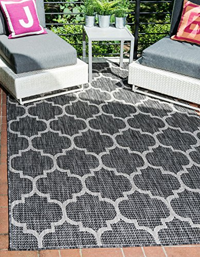 Black Transitional Rug - Unique Loom Outdoor Trellis Collection Casual Moroccan Lattice Transitional Indoor and Outdoor Flatweave Black  Area Rug (6' 0 x 9' 0)