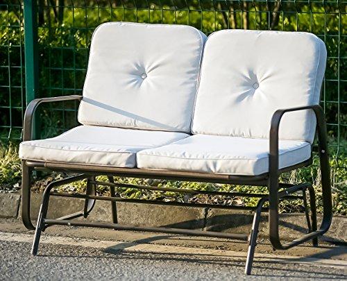 Merax Outdoor Bench Patio Glider Rocking Chair Garden Park Bench (Bronze Loveseat)
