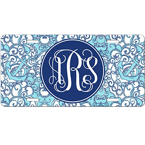 - Simply Customized Personalized License Plate Monogram Blue Swirls and Anchors Nautical License Plate Car Auto Tag Aluminum PLP