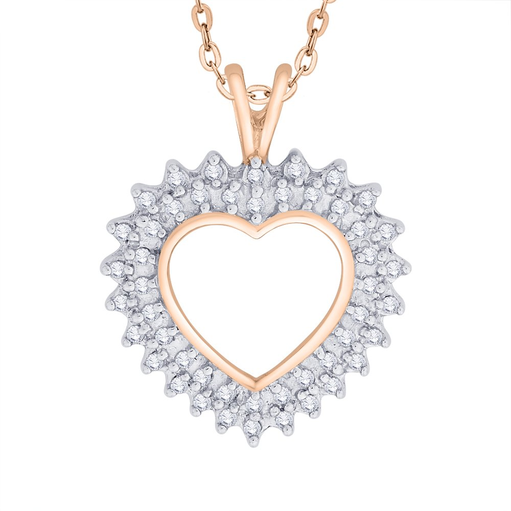 KATARINA Prong Set Diamond Heart Pendant Necklace in Gold or Silver 1//4 cttw, J-K, SI2-I1