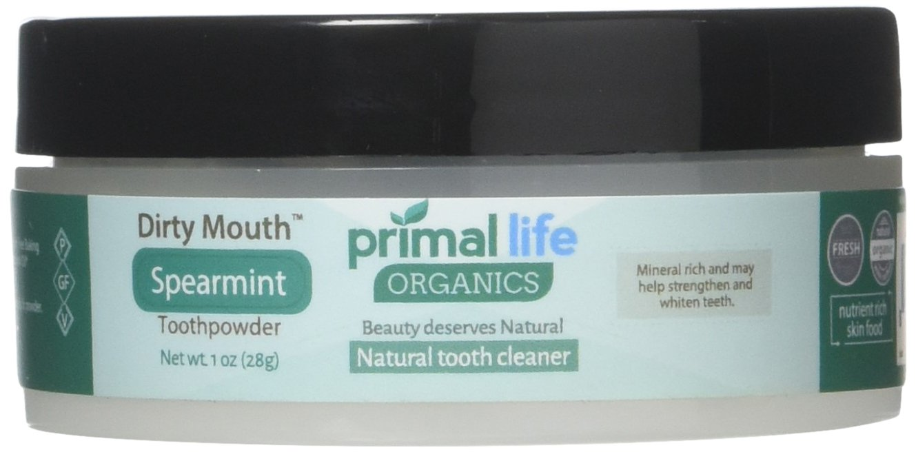Dirty Mouth Organic Toothpowder #1 BEST RATED All Natural Dental Cleanser- Gently Polishes, Detoxifies, Re-Mineralizes, Strengthens Teeth - Spearmint (1 oz = 3mo Supply) - Primal Life Organics
