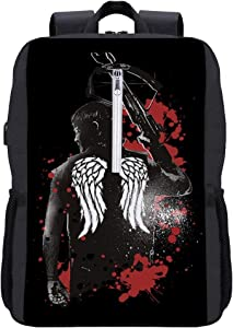 Walking Dead Daryl Dixon Wings and Crossbow Backpack Daypack Bookbag Laptop School Bag with USB Charging Port