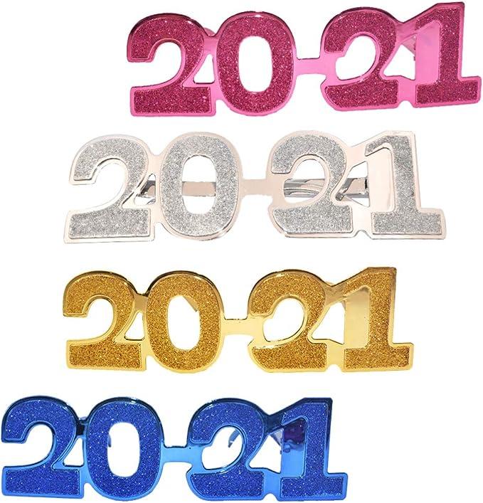 PRETYZOOM Frohes Neues Jahr Brille 2021 Farbverlauf Farbnummer Brille Neuheit Brille f/ür Party Gunst Kost/üm Requisite