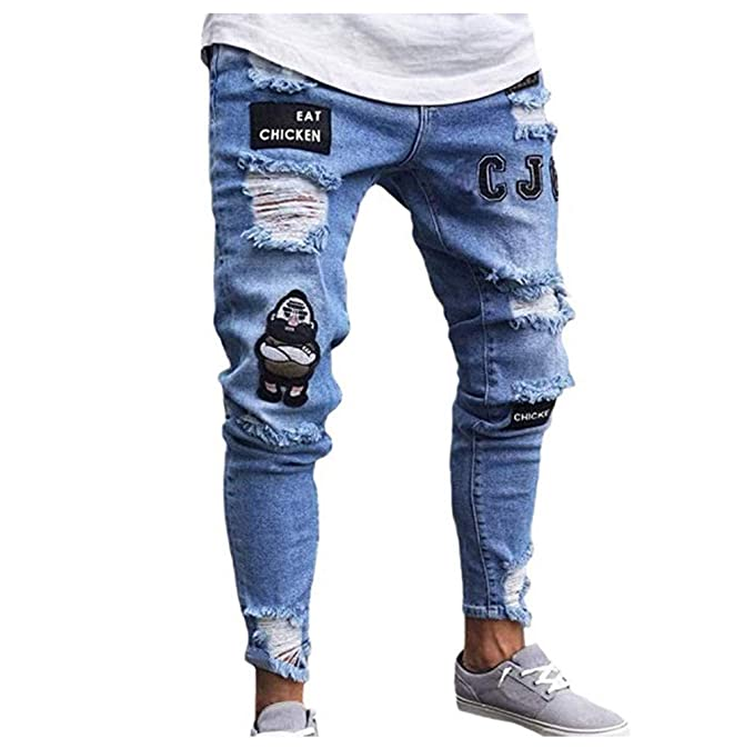 a5cd803dee76 GETHIS Men s Fashion Casual Denim Ripped Distressed Slim Fit Jogger Pants  Funny White Jeans for Teen