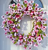 Cheap Stellar Performance Pink Dogwood Wreath Indoor and Outdoor Wreath Front Door Decoration