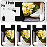Liili Phone Card holder sleeve/wallet for iPhone Samsung Android and all smartphones with removable microfiber screen cleaner Silicone card Caddy(4 Pack) box with a wedding rings with bouquet and hig