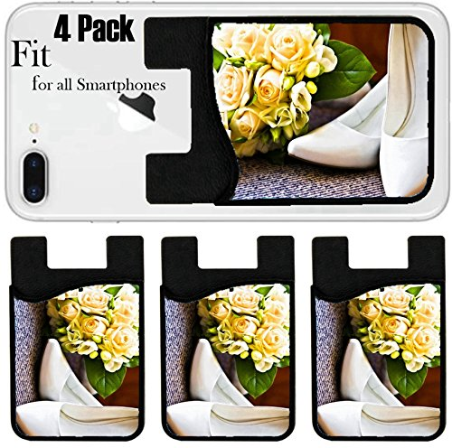 Liili Phone Card holder sleeve/wallet for iPhone Samsung Android and all smartphones with removable microfiber screen cleaner Silicone card Caddy(4 Pack) box with a wedding rings with bouquet and hig by Liili