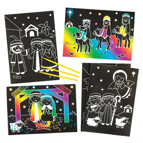Baker Ross Nativity Scratch Art Christian Pictures for