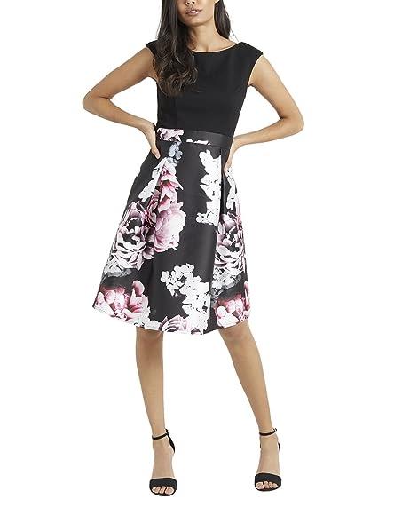 LIPSY Womens VIP Floral Skater Print Prom Dress Black 4