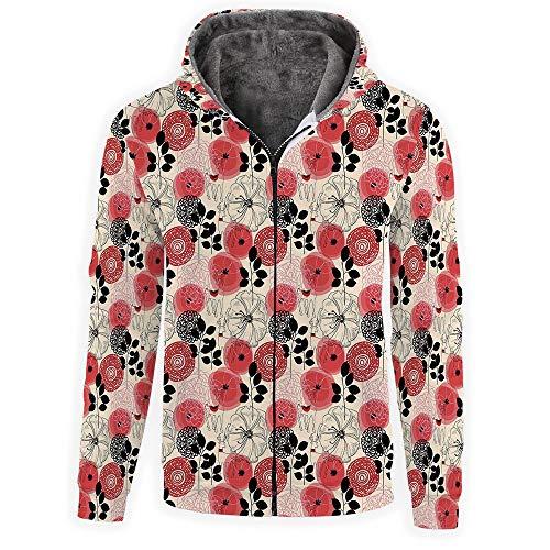 (Unisex 3D Print Zipper Hoodie Sweatshirts Hooded Shirts -Floral Decor)