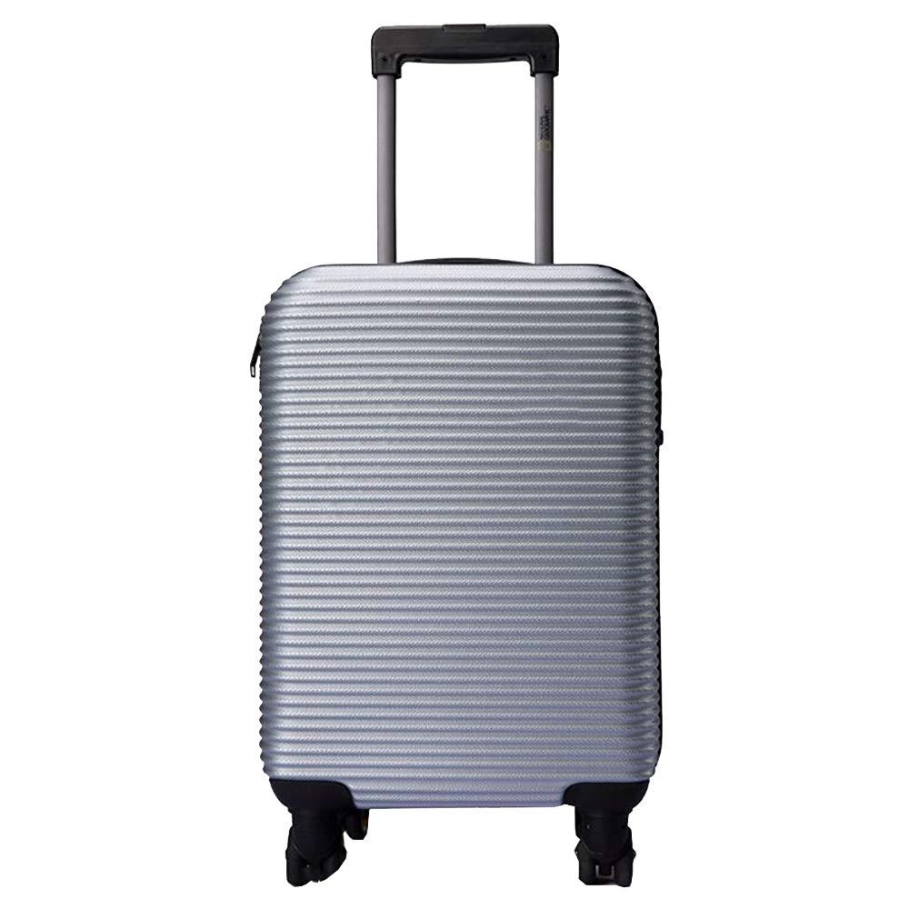 トロリーケースABS大容量ポータブル出張ミュートキャスタースーツケース(シルバー) B07M9FDTP2