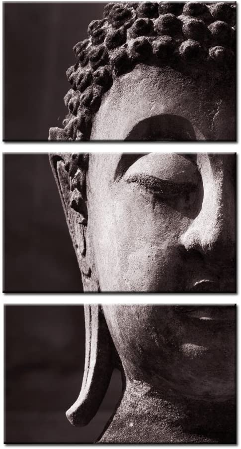 Kreative Arts - Modern Buddha Canvas Contemporary Wall Art Print Vertical 3 Piece Wall Art Gallery Wrapped Prints Stretched Canvas Framed Ready to Hang …