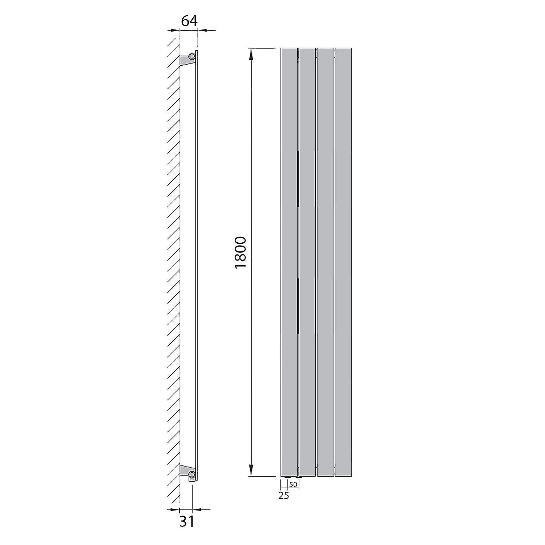 Design Paneelheizk/örper Flachheizk/örper mit seitlichem Anschluss 543 Watt nach EN442 1800 x 298 Anschluss rechts