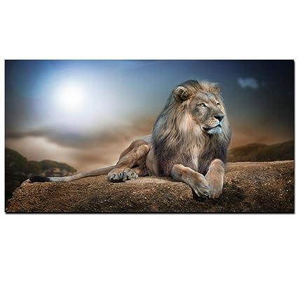 Amazon.com: Mkkkm. Cuadro decorativo de león, paisaje ...