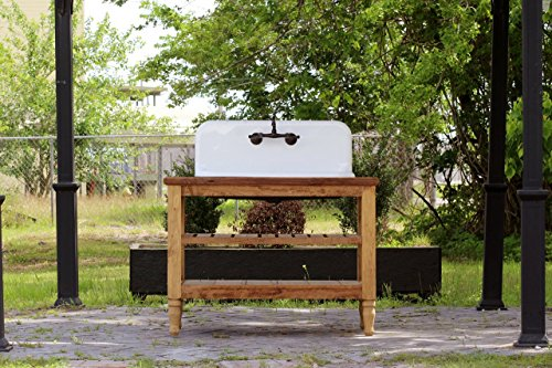 Reclaimed Wood 48' French Provincial Vanity High Back Farm Sink Stand Package Original Porcelain Cast Iron Farm Sink